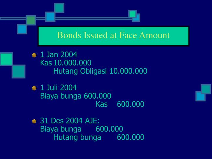 Bonds Issued at Face Amount