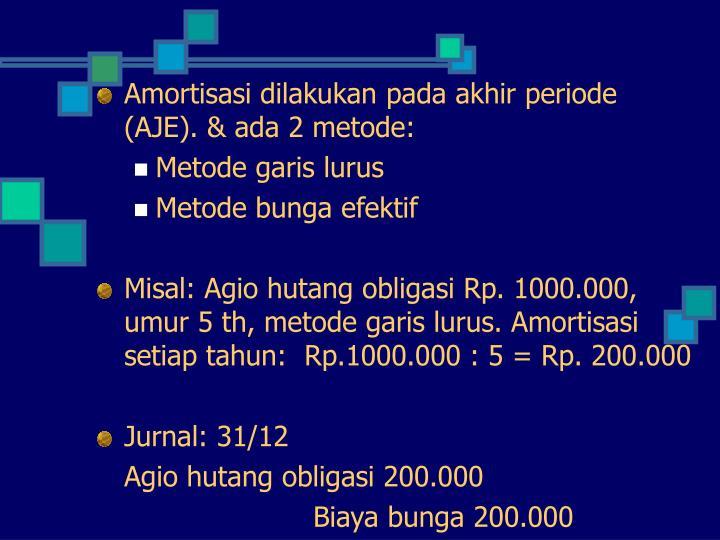 Amortisasi dilakukan pada akhir periode (AJE). & ada 2 metode: