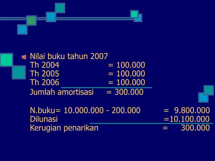 Nilai buku tahun 2007