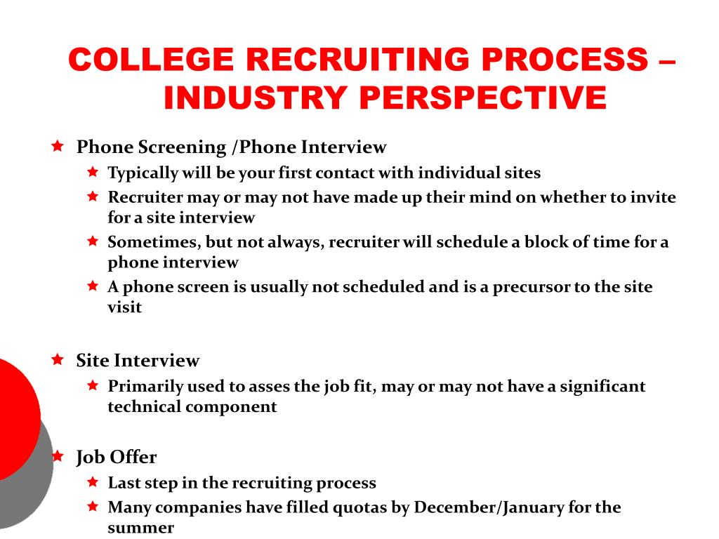 COLLEGE RECRUITING PROCESS – INDUSTRY PERSPECTIVE