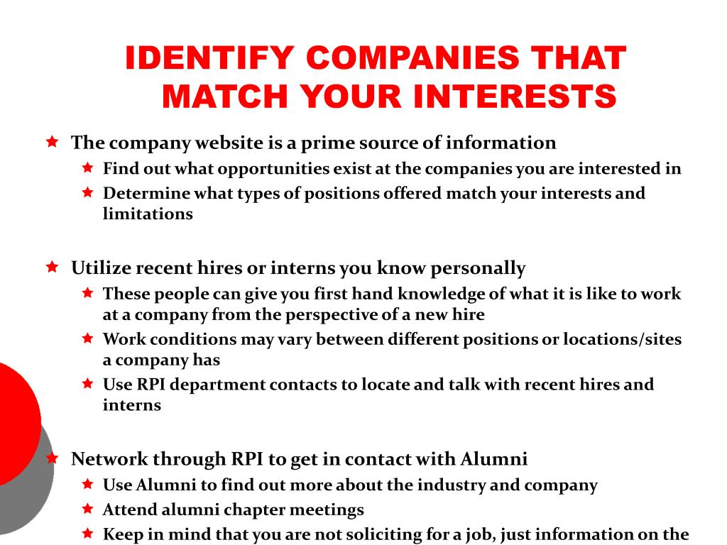 IDENTIFY COMPANIES THAT MATCH YOUR INTERESTS
