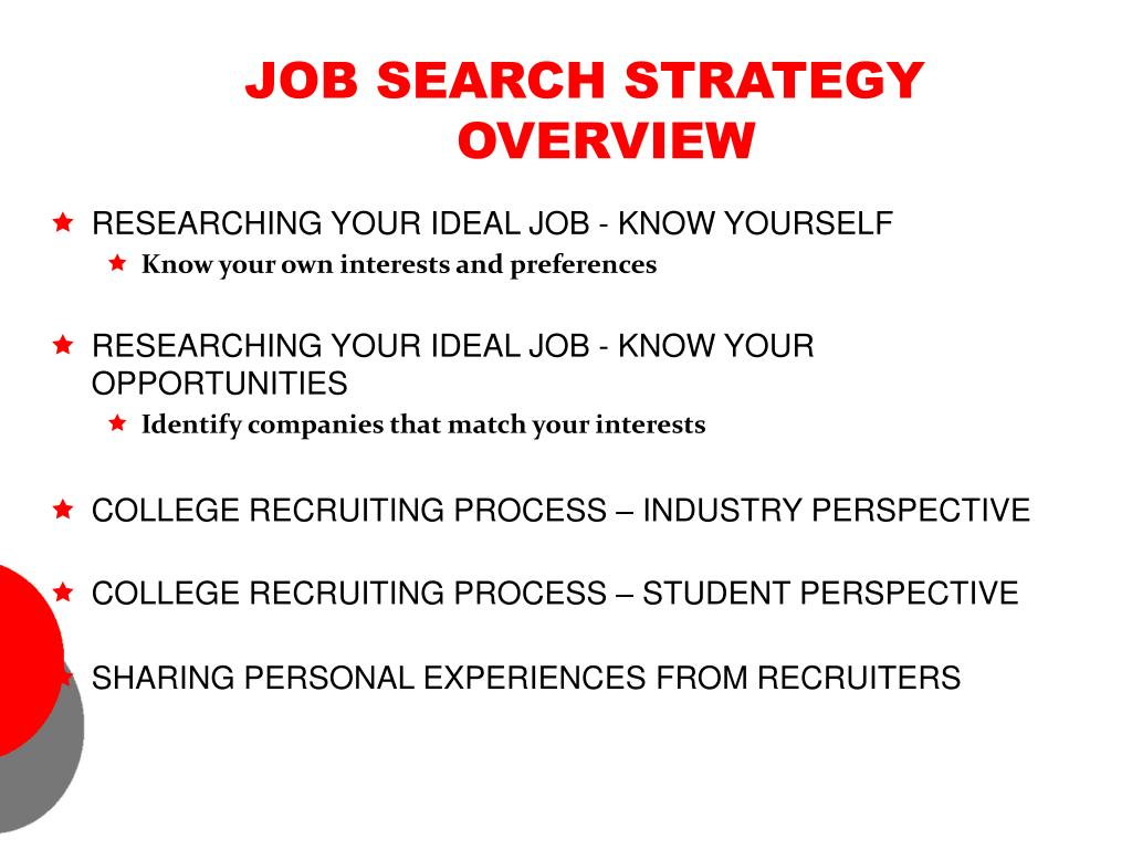 JOB SEARCH STRATEGY OVERVIEW