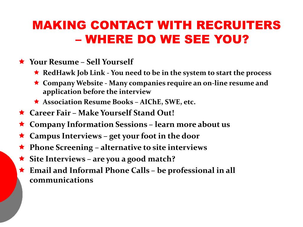 MAKING CONTACT WITH RECRUITERS – WHERE DO WE SEE YOU?