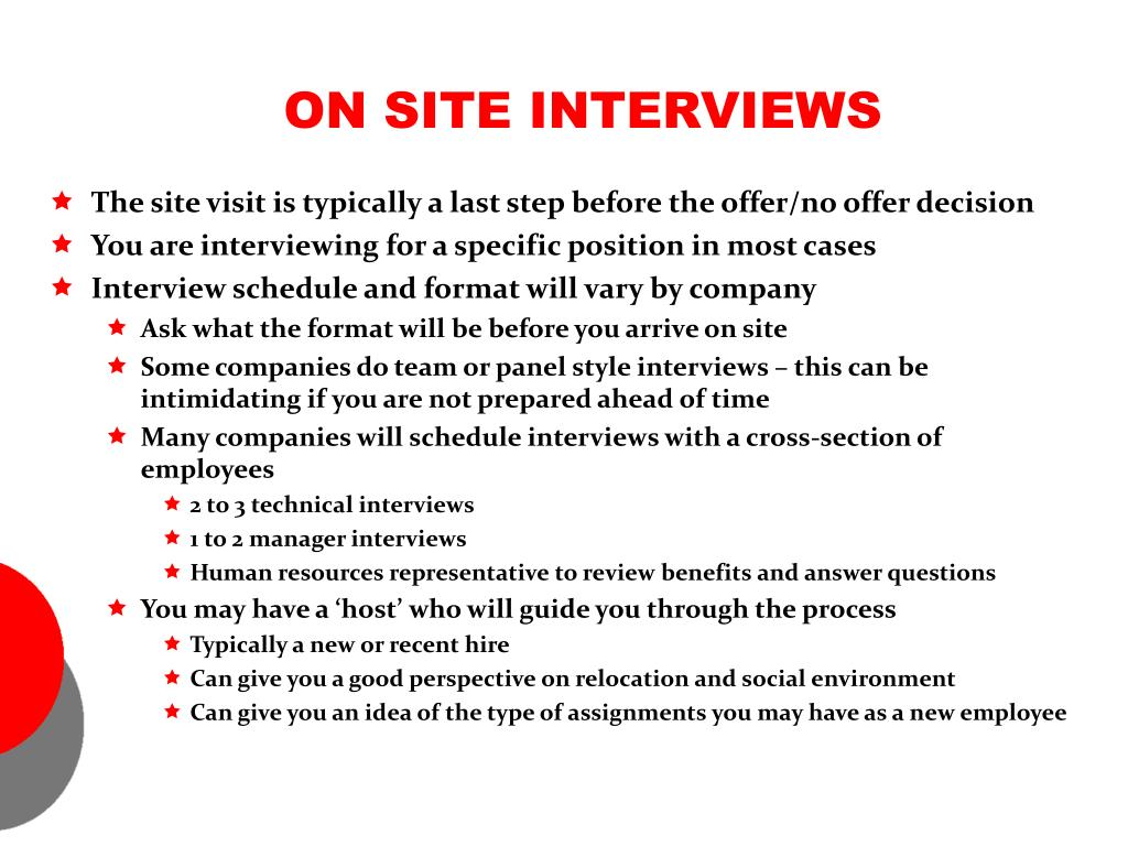 ON SITE INTERVIEWS