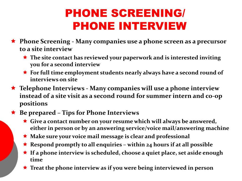PHONE SCREENING/