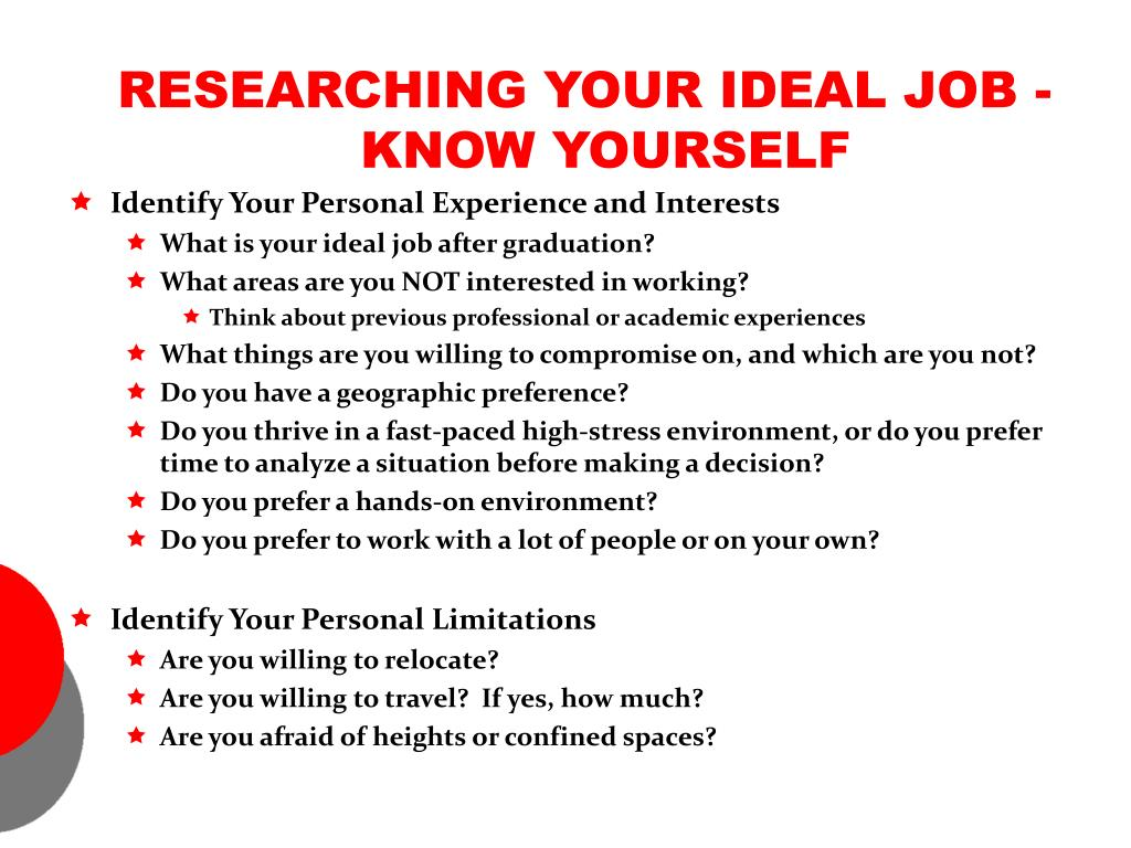 RESEARCHING YOUR IDEAL JOB - KNOW YOURSELF