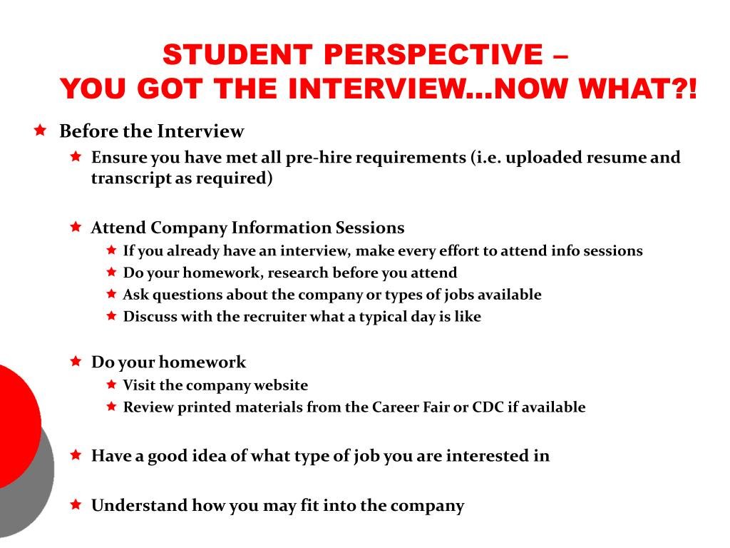 STUDENT PERSPECTIVE –