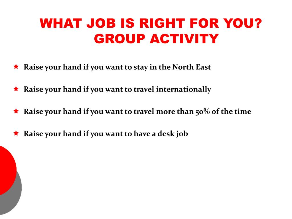 WHAT JOB IS RIGHT FOR YOU? GROUP ACTIVITY