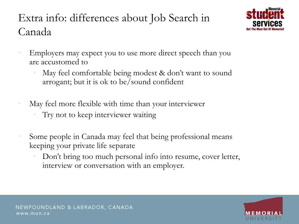 Extra info: differences about Job Search in Canada