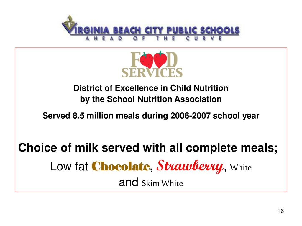 District of Excellence in Child Nutrition