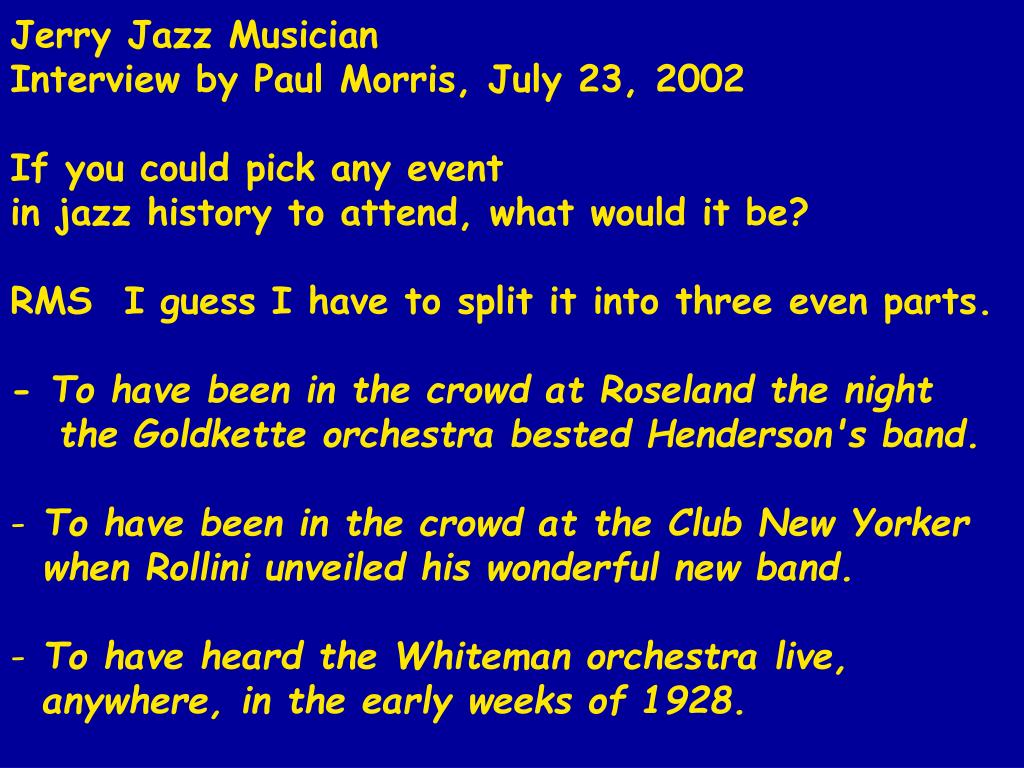 Jerry Jazz Musician
