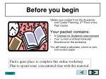 before you begin