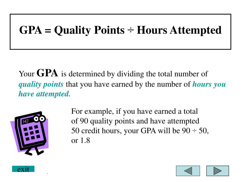 GPA = Quality Points ÷ Hours Attempted