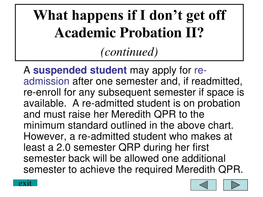 What happens if I don't get off Academic Probation II?