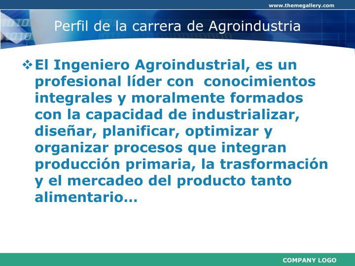 Perfil de la carrera de Agroindustria