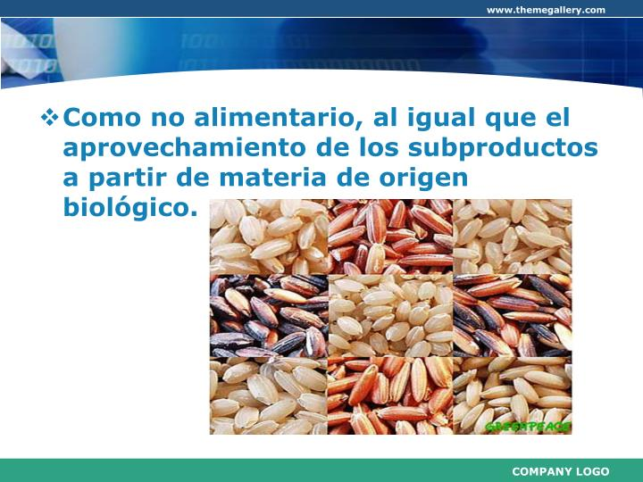 Como no alimentario, al igual que el aprovechamiento de los subproductos a partir de materia de origen biológico.