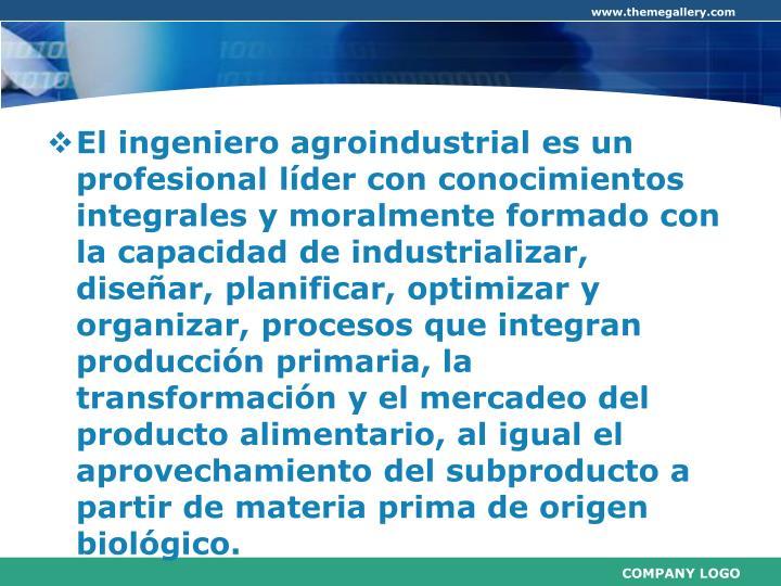 El ingeniero agroindustrial es un profesional líder con conocimientos integrales y moralmente formado con la capacidad de industrializar, diseñar, planificar, optimizar y organizar, procesos que integran producción primaria, la transformación y el mercadeo del producto alimentario, al igual el aprovechamiento del subproducto a partir de materia prima de origen biológico.