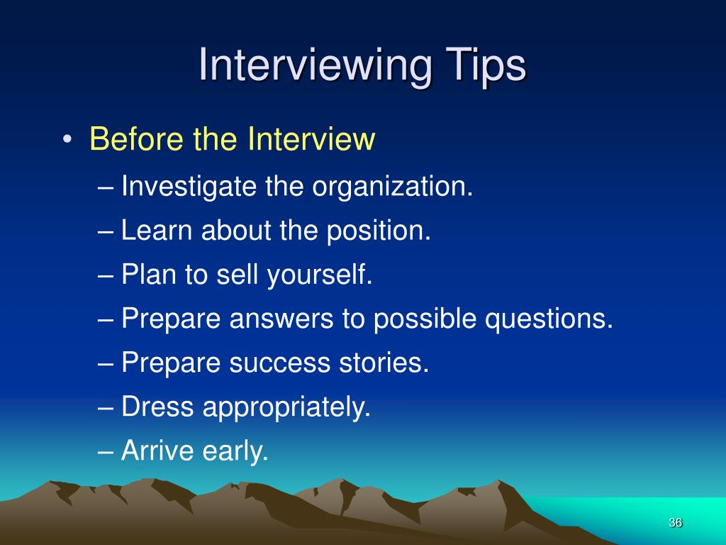 Interviewing Tips