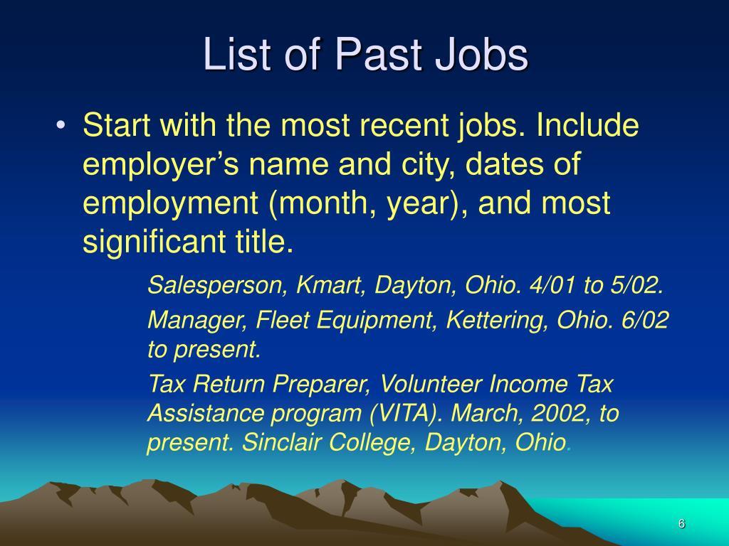 List of Past Jobs