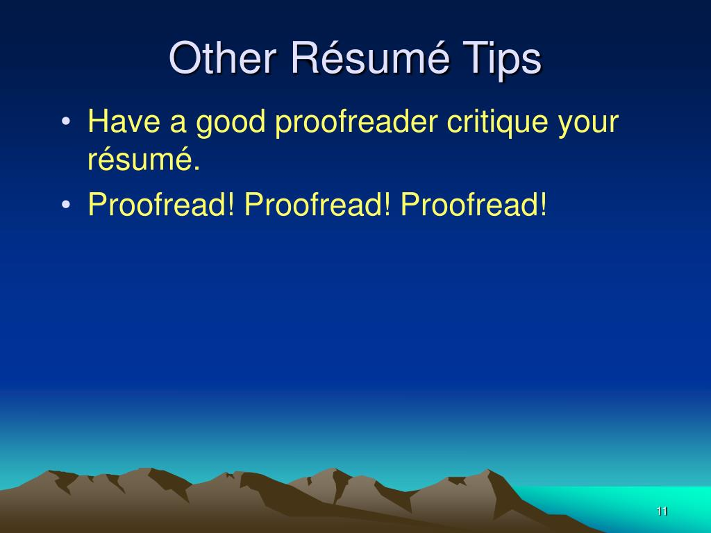 Other Résumé Tips