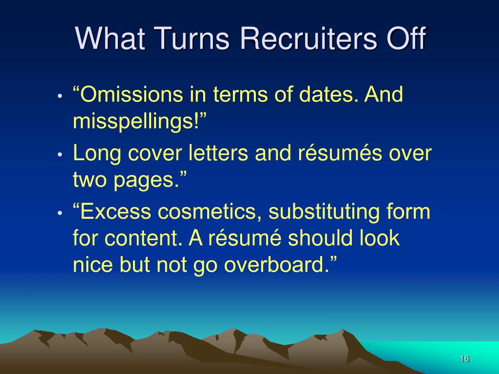 What Turns Recruiters Off