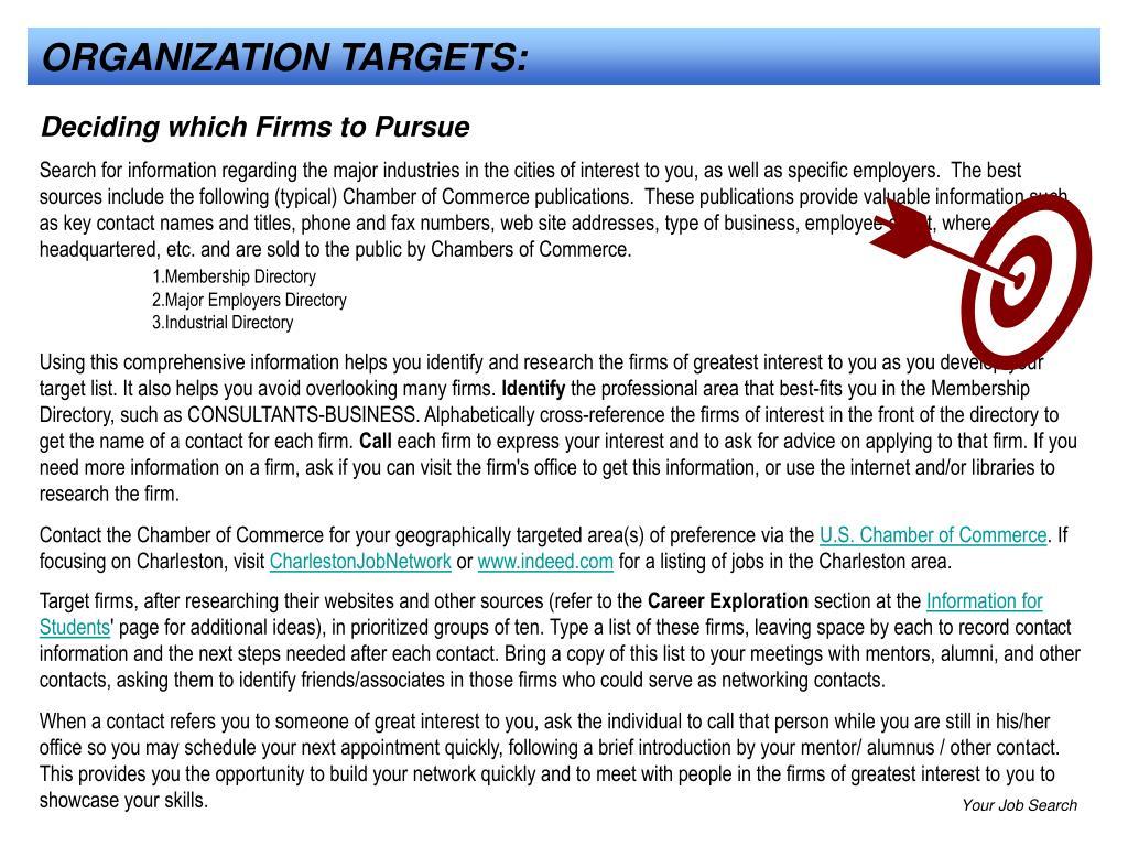 ORGANIZATION TARGETS: