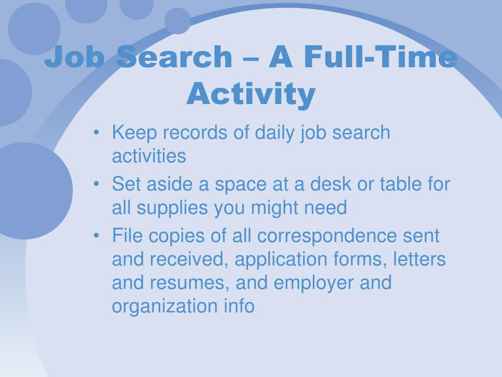 Job Search – A Full-Time Activity