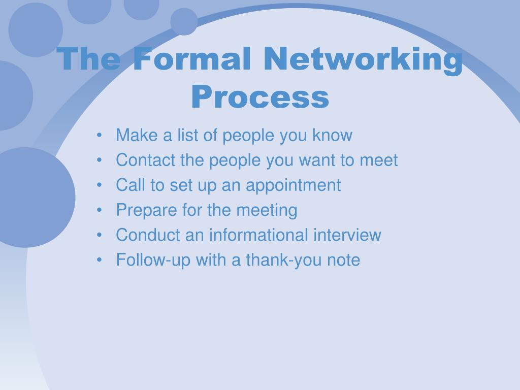 The Formal Networking Process