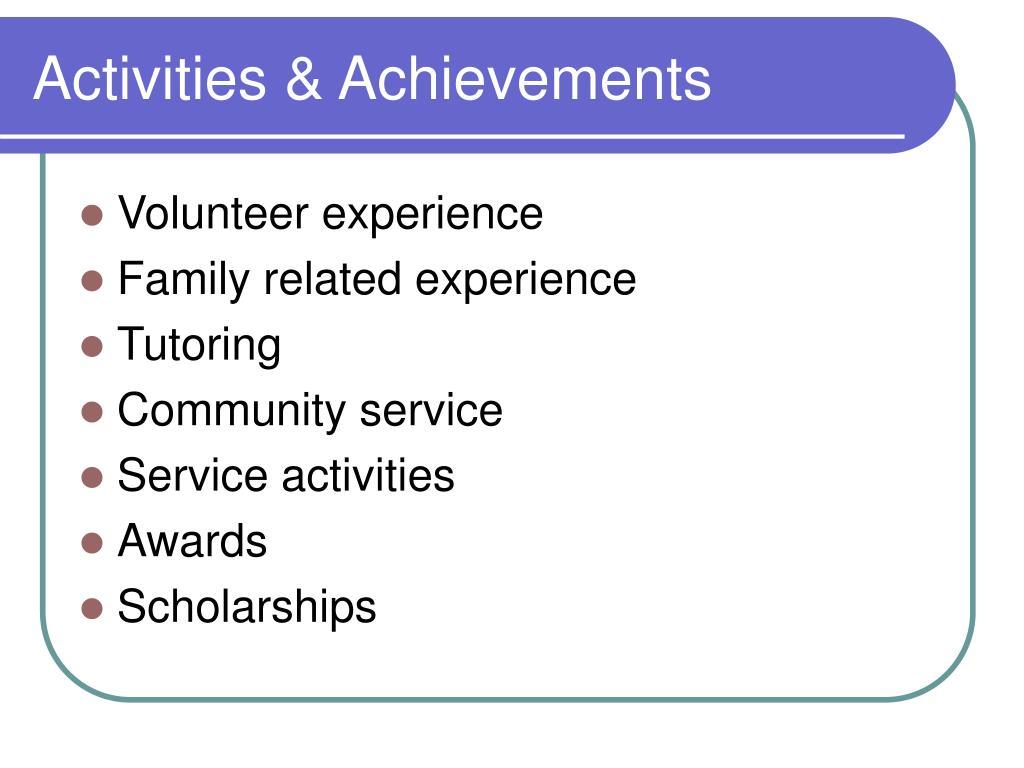Activities & Achievements