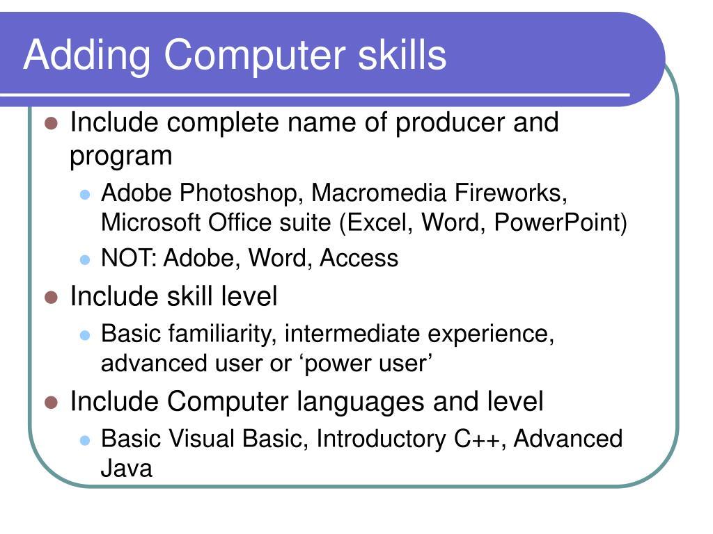 Adding Computer skills