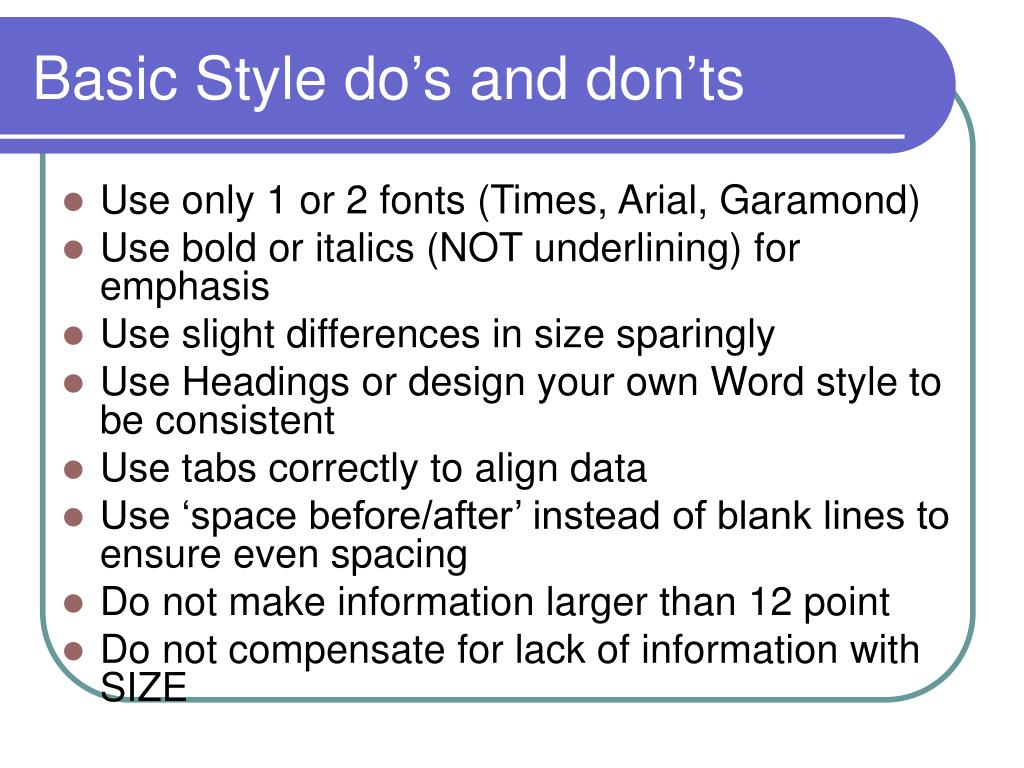 Basic Style do's and don'ts