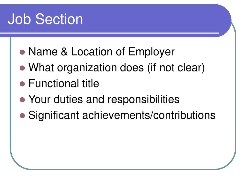Job Section