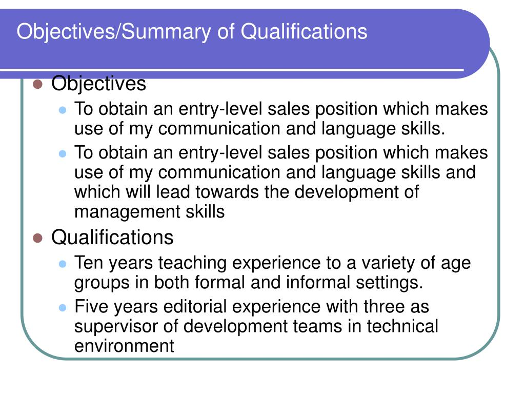 Objectives/Summary of Qualifications