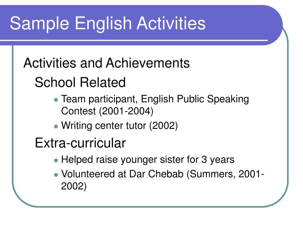 Sample English Activities