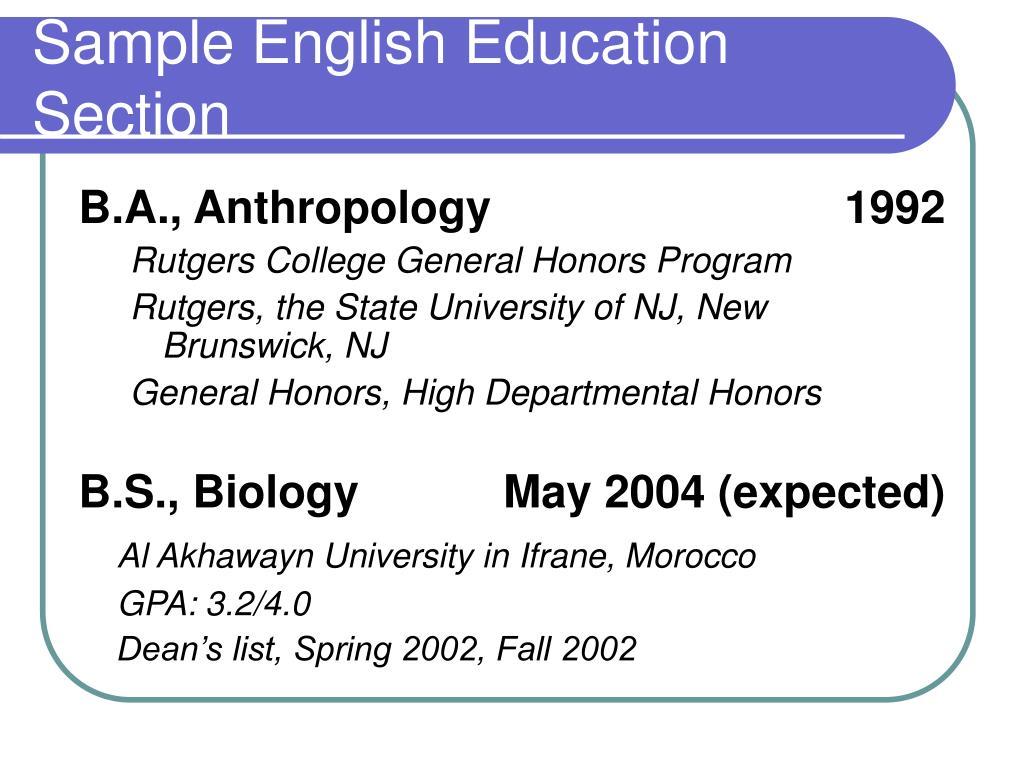 Sample English Education Section
