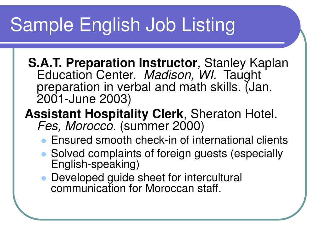 Sample English Job Listing