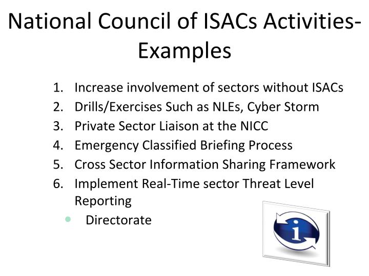 National Council of ISACs Activities-Examples