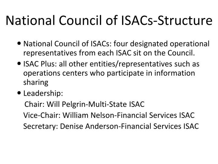 National Council of ISACs-Structure