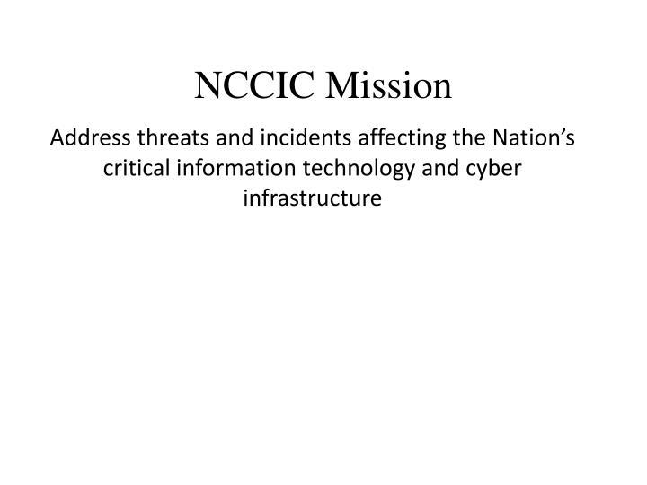 NCCIC Mission