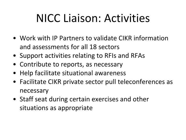 NICC Liaison: Activities