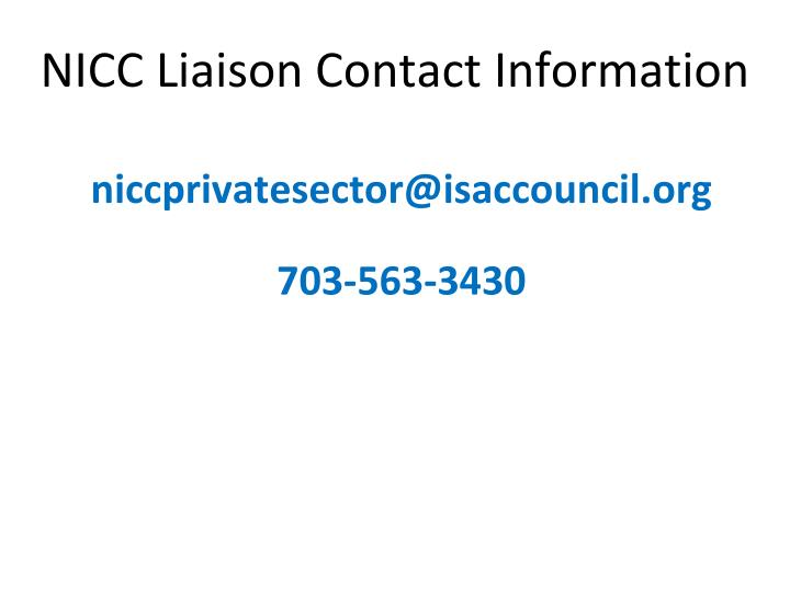 NICC Liaison Contact Information