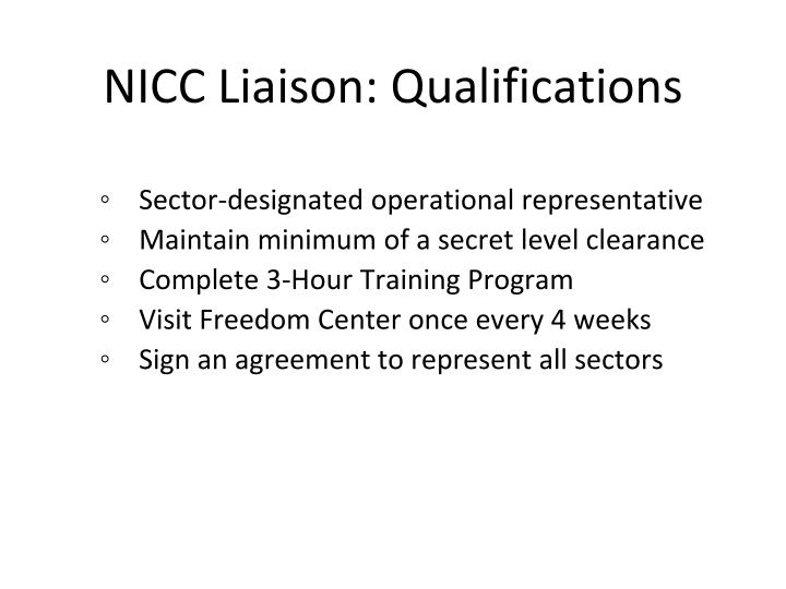 NICC Liaison: Qualifications