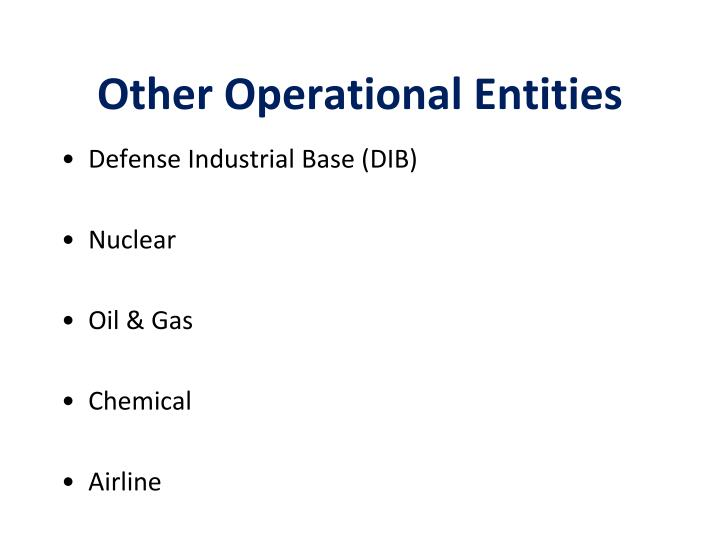 Other Operational Entities