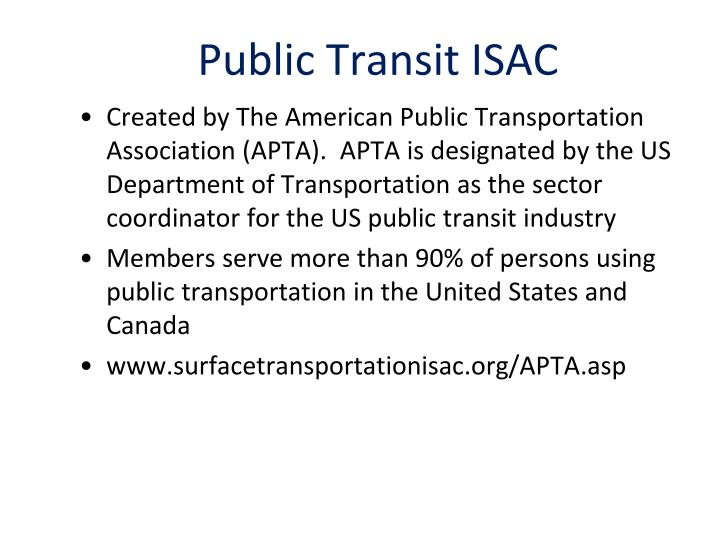 Public Transit ISAC