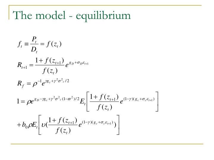 The model - equilibrium
