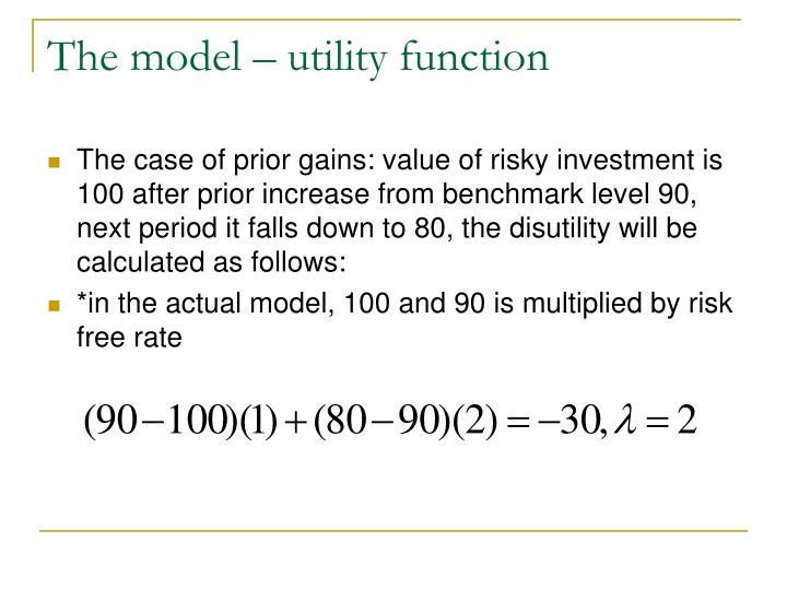 The model – utility function