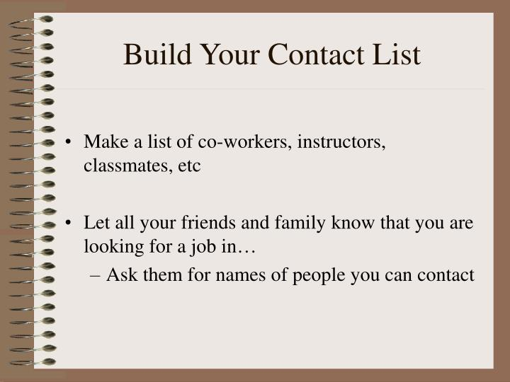 Build your contact list