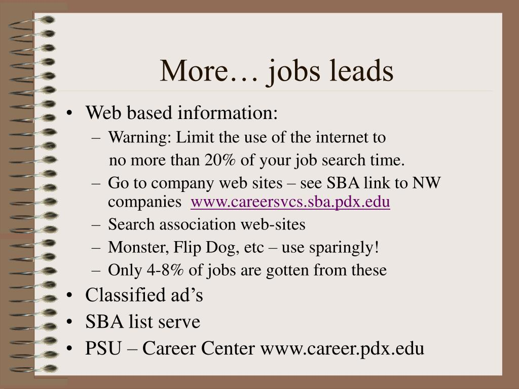More… jobs leads