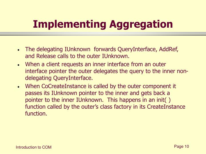 Implementing Aggregation