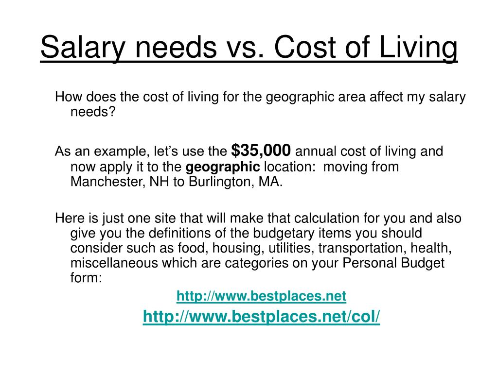 Salary needs vs. Cost of Living